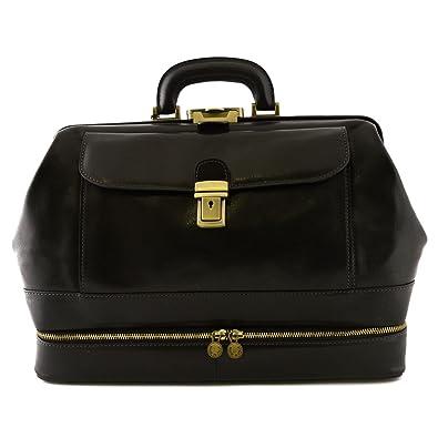 Professionelle Leder Aktentasche 3 Abteile Und 2 Fächer Farbe Schwarz - Italienische Lederwaren - Aktentasche Dream Leather Bags Made in Italy EtqH9n