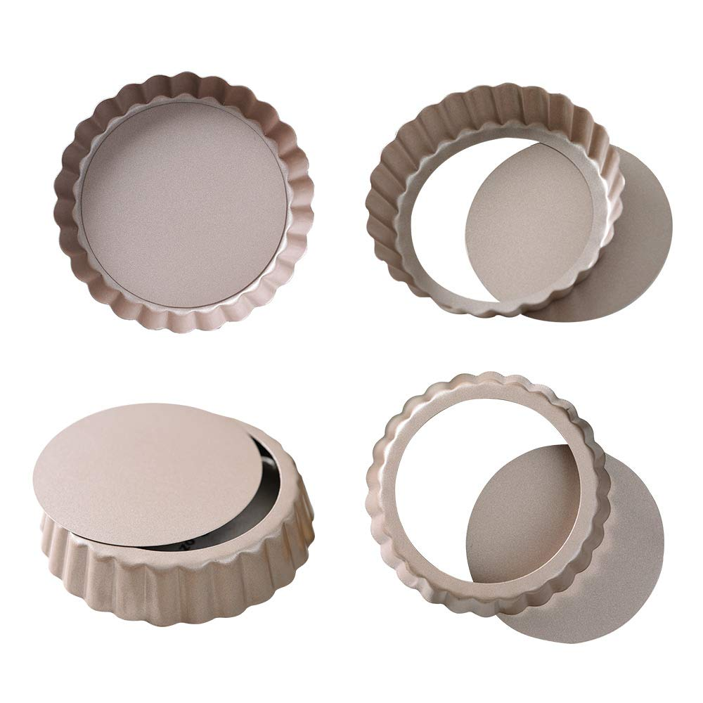 Bakerdream 3.5 Inch Quiche Pan,Nonstick Removable Bottom Mini Tart Pan, Round Pie Pan Pack of 4 (3.5'' Quiche pan w Removable Bottom)