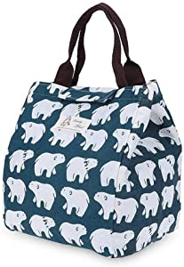 Portable Insulated Lunch Bags, SUNEO Canvas Thermal Food Picnic Lunch Bag Outdoor For Work (Bear Print) (Bear Print)