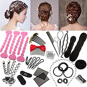 24pcs Hair Styling Set, Luckyfine Fashion Hair Design Styling Tools DIY Hair Accessories, Hairdressing Braiding Hair Clip Pads Hairstyle Brace Hair Styling Tool Set