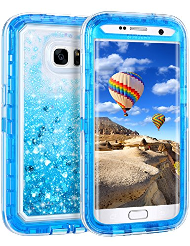 Coolden Case for Galaxy S7 Edge Case Protective Glitter Case for Women Girls Cute Floating Liquid 3D Quicksand Heavy Duty Hard Shell Shockproof TPU Case for Samsung Galaxy S7 Edge, Blue