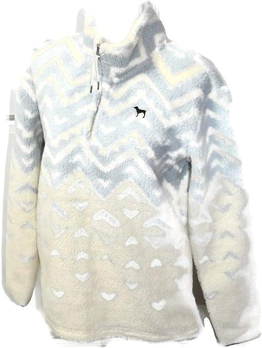 Victoria s Secret PINK Pullover Sherpa Boyfriend Geometric Sweater Half Zip  (Extra Small) 10e46f64c