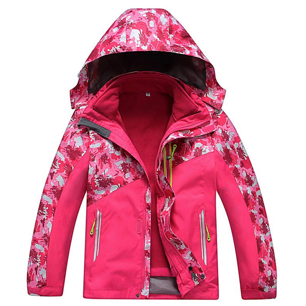 FARVALUE Kid's Winter 3 in 1 Jacket Warm Waterproof Windproof Hooded Ski Snow Coat for Boys Girls Pink 10-11Y by FARVALUE