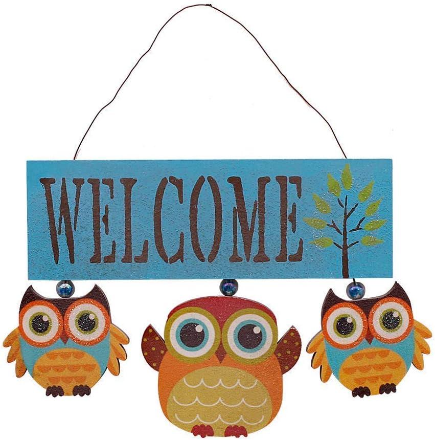 Rainbow Handcrafts Wood Owl Hanging Welcome Sign Owl Art Door Decor Wood Owl Ornament Primitive Country Front Door Decoration Kitchen Bathroom Porch Patio Garden Outdoor Wall Decoration (Blue)