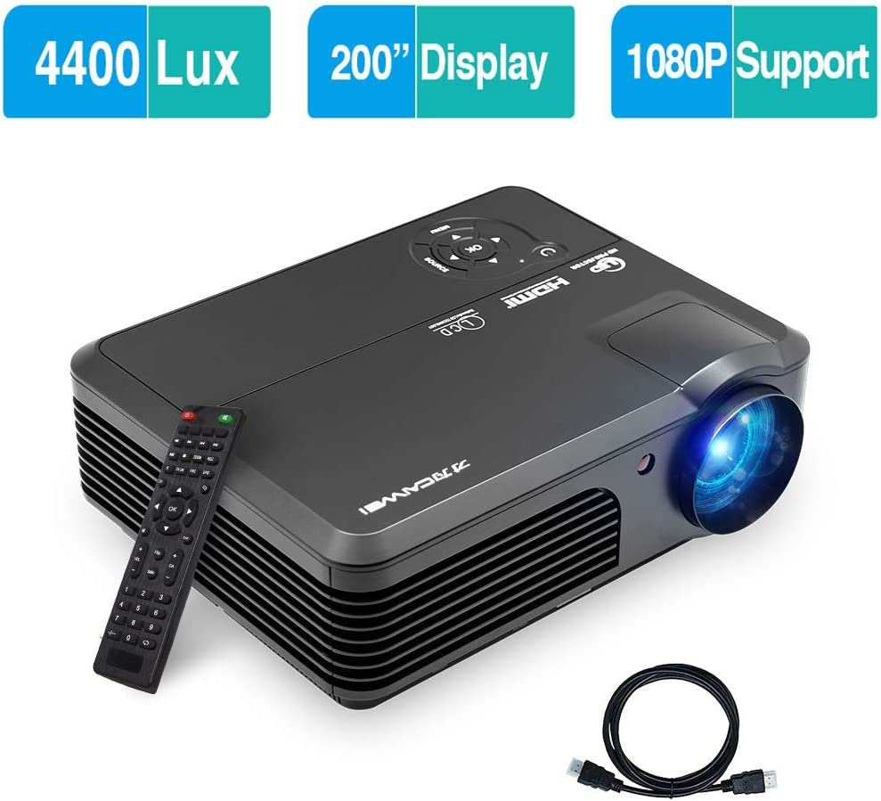 Video Projector, 4400 Lux Support 1920x1080 Projector with Built-in Sound Speaker, LED Home Cinema Projector with PS4, HDMI, VGA, USB, Laptop, Phone, TV Box for Gaming Outdoor Entertainment
