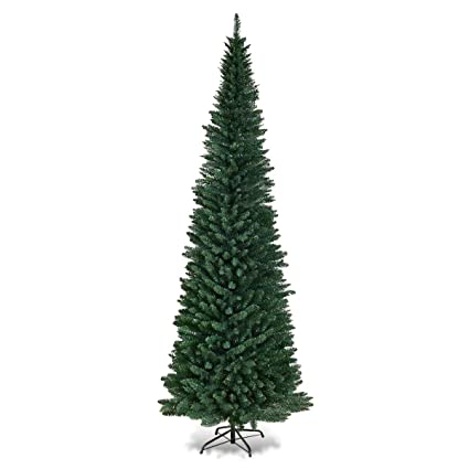 Goplus 9FT PVC Artificial Pencil Christmas Tree Slim Tree w/Metal Stand for  Indoor and - Amazon.com: Goplus 9FT PVC Artificial Pencil Christmas Tree Slim