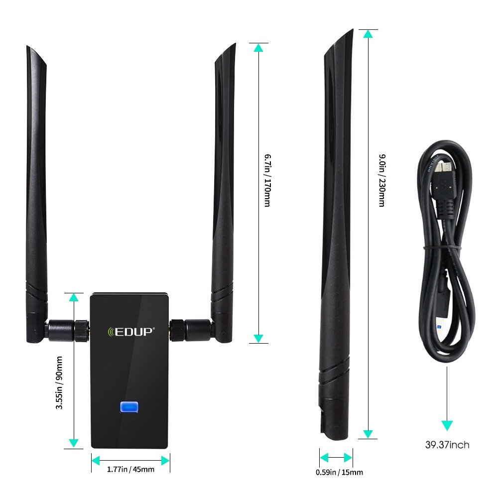 WISE TIGER Wifi Adapter AC1200Mbps Dual Band 5GHz/2.4GHz USB Wifi Dongle Network Wlan Stick with Detachable 2 Antennas for Windows XP/7/8/8.1/10/Vista/Mac OS 10.6~10.13