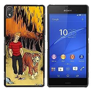 All Phone Most Case / Hard PC Metal piece Shell Slim Cover Protective Case Carcasa Funda Caso de protección para Sony Xperia Z3 D6603 / D6633 / D6643 / D6653 / D6616 tiger bow forest man dude