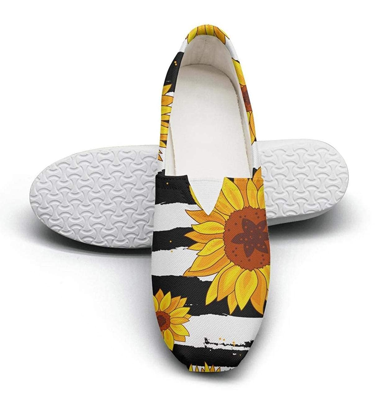 Sunflower Pattern Black Background Female Lightweight Casual Canvas Style Sneakers Camping Shoes