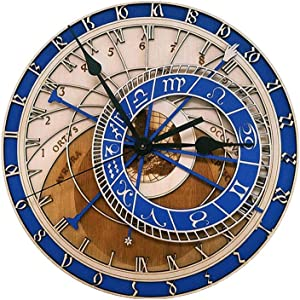 guijinpeng Wall Clocks Prague Astronomical Wooden Large Wall Clock Home Decor Quartz Vintage Clock 12 Size Silence Living Room Decorative Hanging Watch Silent Easy to Read