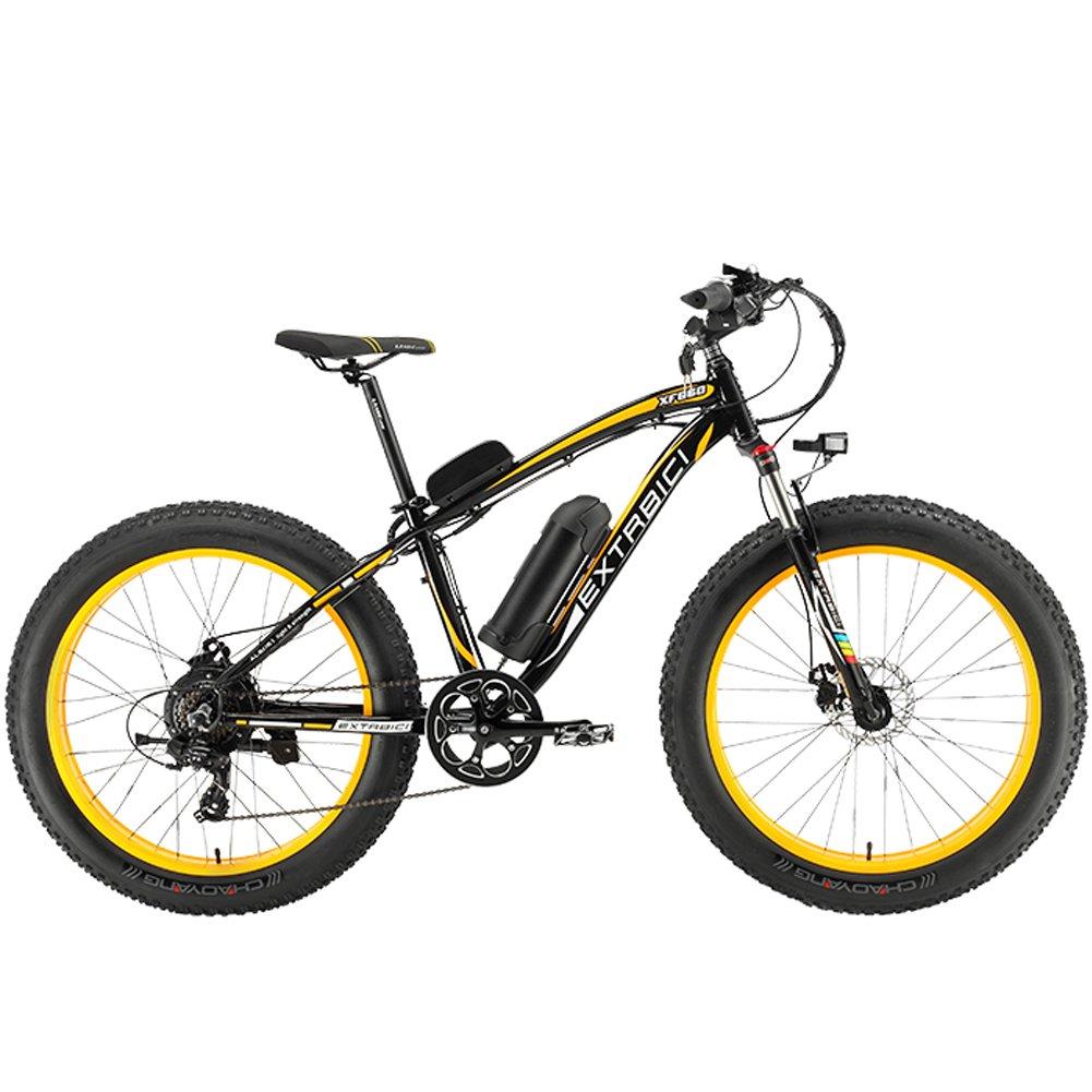 Cyrusher XF660 500W FATBIKE 17×26インチ マウンテンバイク アルミフレーム電動自転車シマノ7段変速 B07L9KJ66V 黄 黄