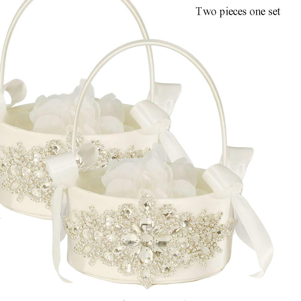 LAPUDA Two Pieces one Set, Flower Basket Series-Wedding Flower Basket, Flower Girl' Basket, Rhinestone Flower Basket Style HL0247 (Ivory)