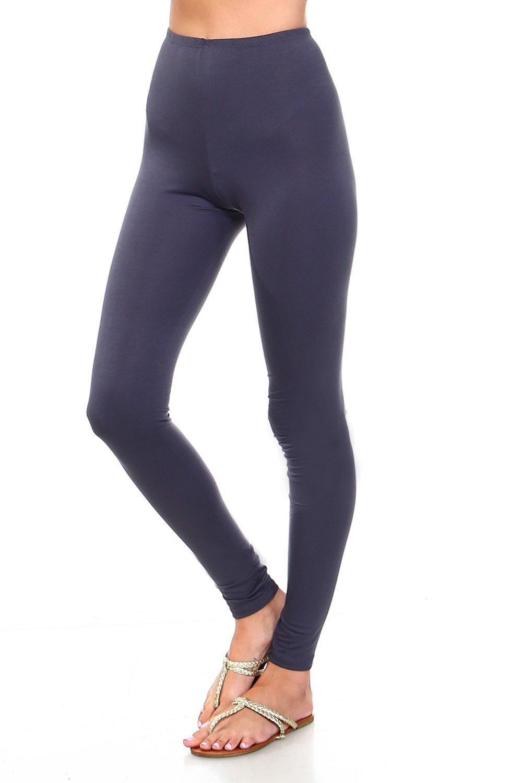 Simplicitie Women's Premium Ultra Soft High Waist Leggings - Charcoal, Medium - Made in USA