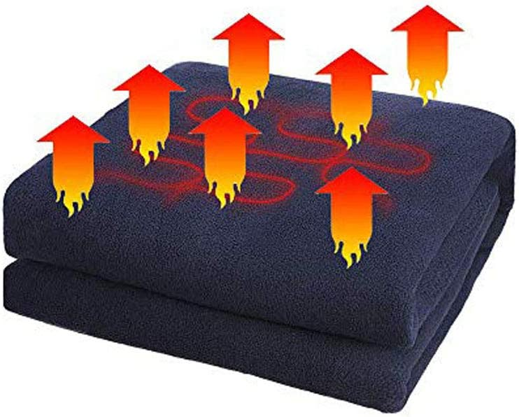 JanTeelGO Manta calefaccionada para Autos, 12 Volt eléctrico Fleece Temperatura Constante Anti-sobrecalentamiento Manta Caliente para Camiones vehículo Barcos RV, Viaje de Invierno Uso (Armada)
