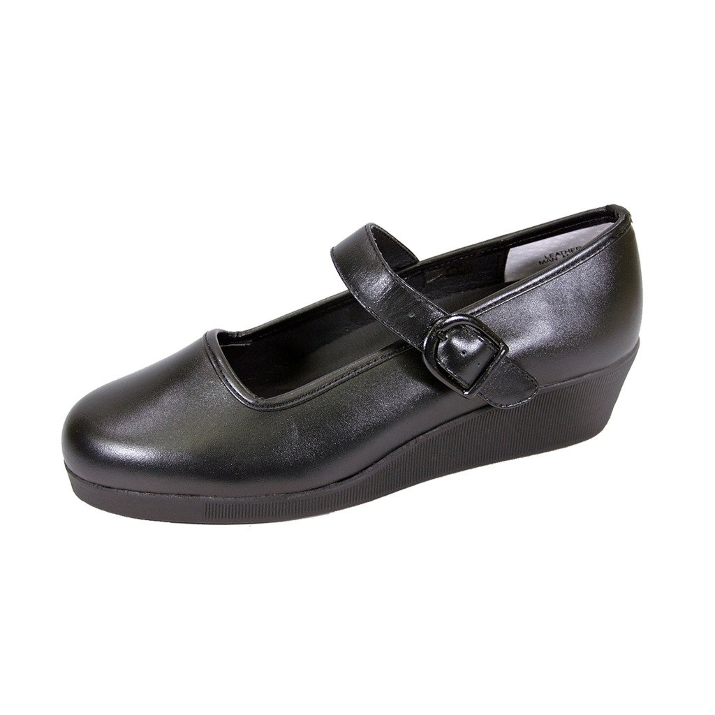 24 Hour Comfort  Justine (1813) Women Extra Wide Width Mary Jane Wedges Black 8.5