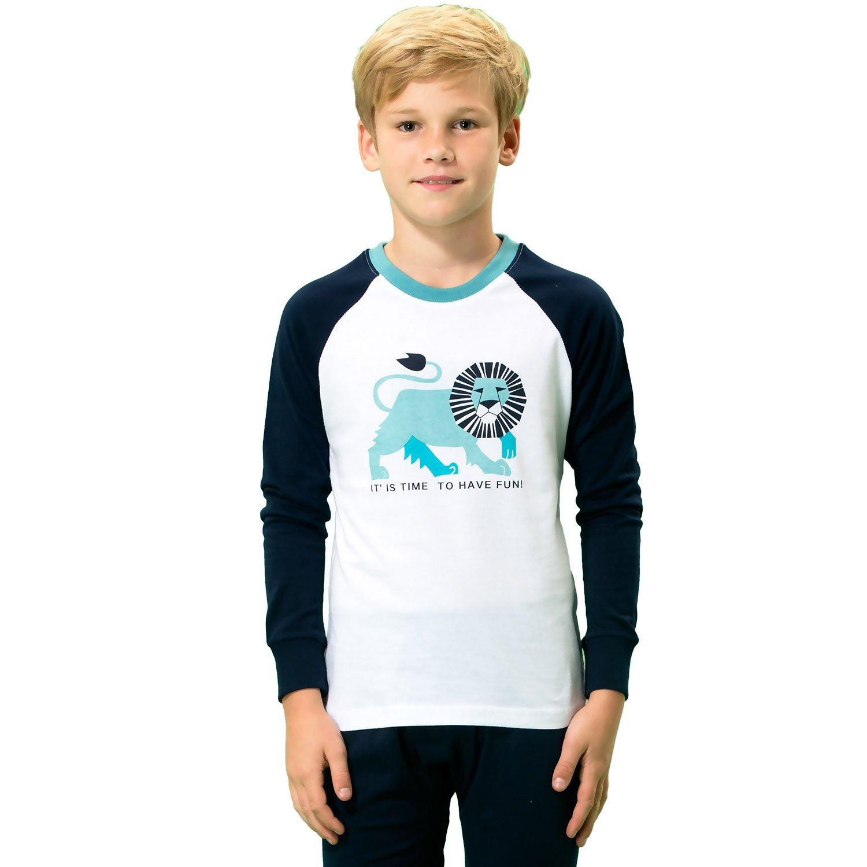 Leo&Lily Boys' Kids' Cotton IReglan Sleeve Printed Pajamas Sets White Navy (Navy White, 12)
