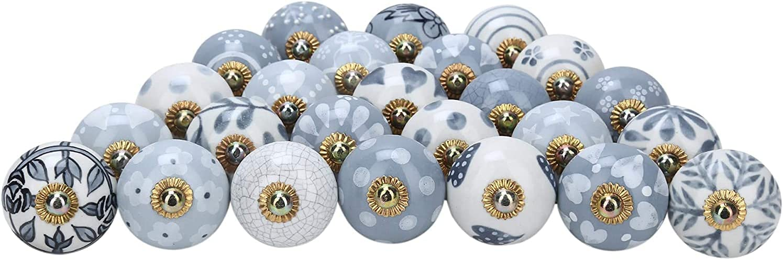 Grey Ceramic Knobs 6 Pcs Handmade Floral Drawer Pulls Boho Furniture Décor Cabinet Handles