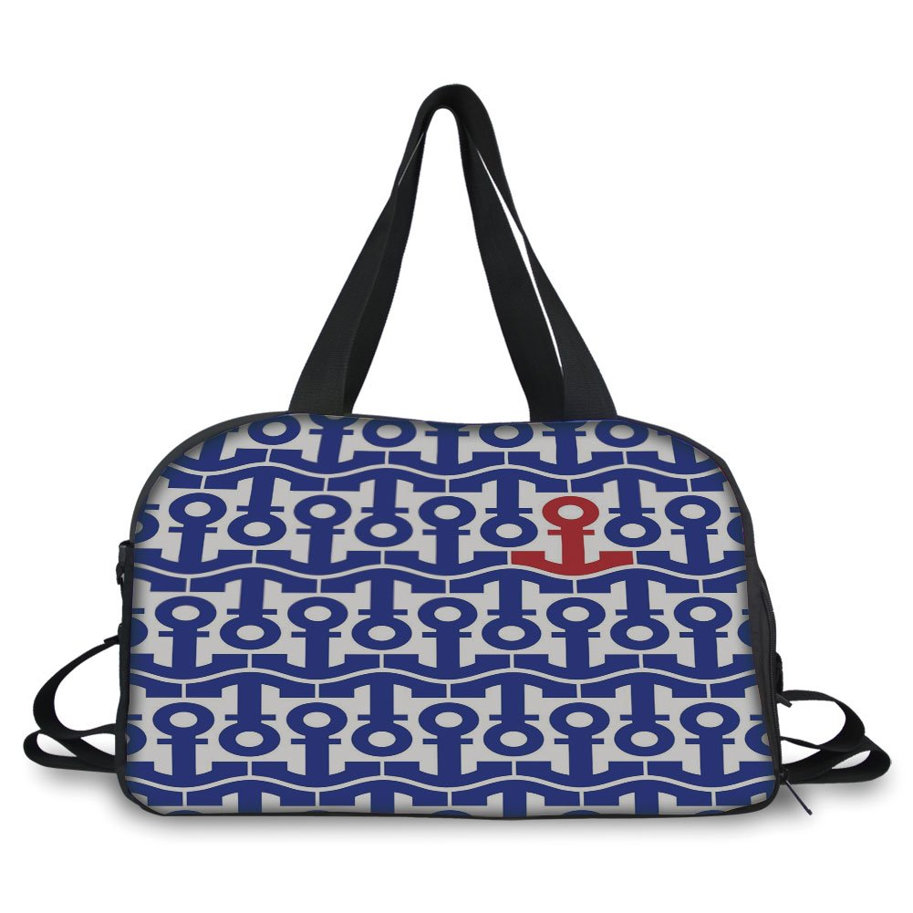 Travel handbag,Nautical,Stylized Marine Anchors Motif Ship Journey Sea Ocean Adventure Artsy Graphic,Navy Blue Red ,Personalized