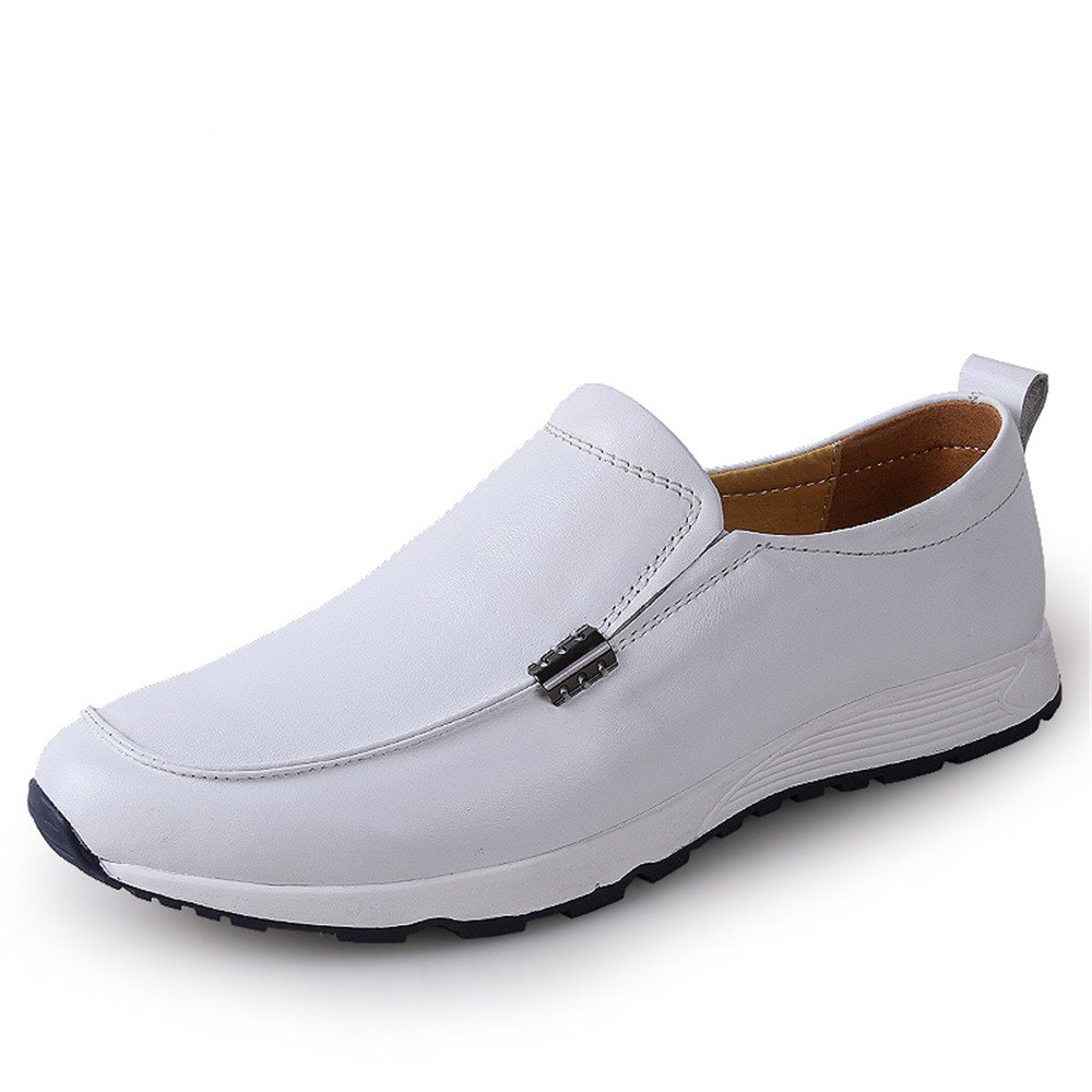 2018 Mocasines Zapatos para Hombre Conducción de los Hombres Penny Holgazanes Vagabundo Vamp Slip-on Casual Mocasines de Bote Soft Rubber Sole Athletic Shoes (Color : Blanco, tamaño : 43 EU) 43 EU|Blanco