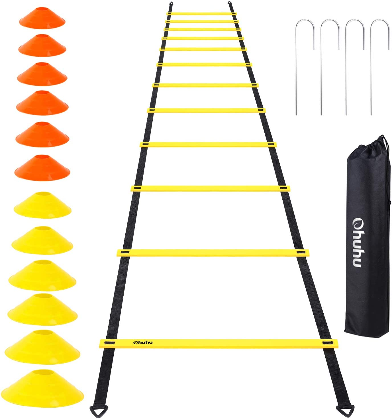 Amazon Com Ohuhu Speed Training Ladder Agility Training Set 12 Rung 20ft Agility Ladder And 12 Field Cones 4 Steel Stakes Carrying Bag Footwork Equipment For Soccer Football Boxing Drills Sports Outdoors