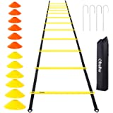 Ohuhu Speed Training Ladder Agility Training Set - 12 Rung 20Ft Agility Ladder and 12 Field Cones,4 Steel Stakes…