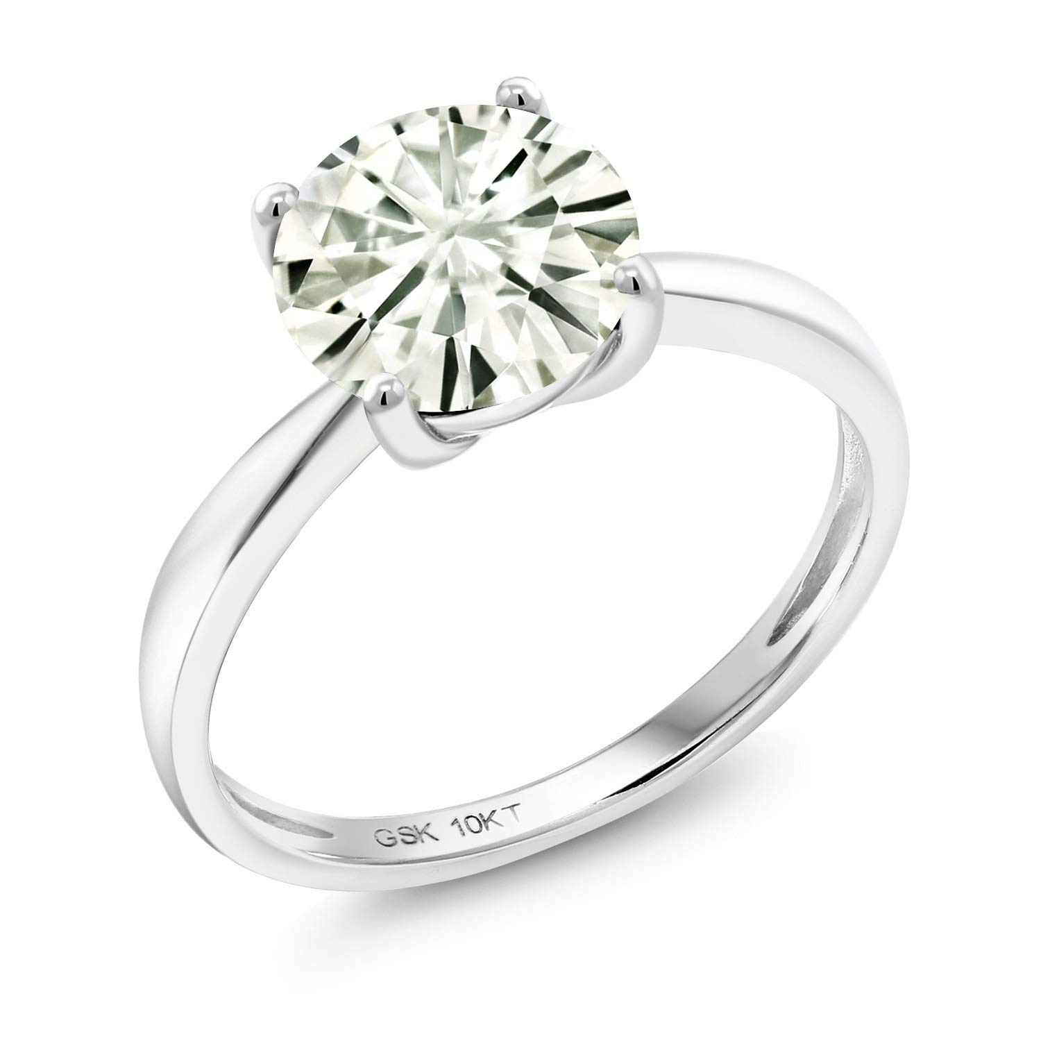 10K White Gold Engagement Solitaire Ring Forever Classic Round 1.60ct (DEW) Created Moissanite by Charles & Colvard (Size 5) by Gem Stone King