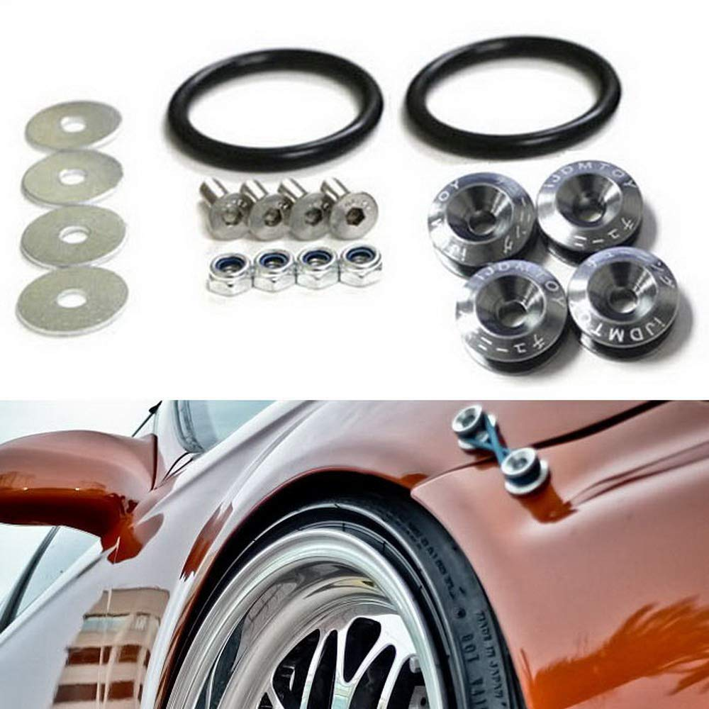 iJDMTOY Universal Fit Black Finish JDM Quick Release Fastener Kit For Car Bumper Trunk Fender Hatch Lid