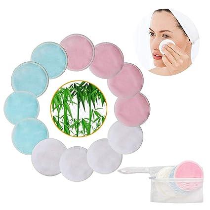 Almohadillas desmaquillantes de maquillaje de bambú, paquete de 12 con bolsa de lavandería - Facial