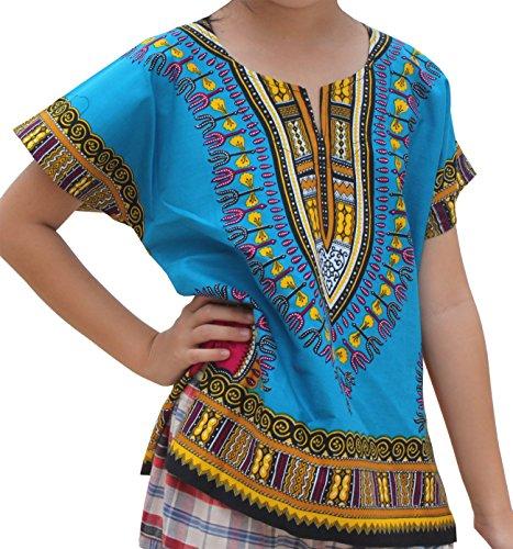 Raan Pah Muang RaanPahMuang Unisex Bright Africa Colour Children Dashiki Cotton Shirt, 6-8 Years Tall, Dodger Blue