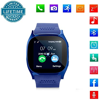 KeepGoo Bluetooth Reloj Inteligente Android iOS Teléfono, Pantalla táctil Smartwatch Soporte SIM/TF Reloj de Pulsera con Cámara Reproductor de música ...