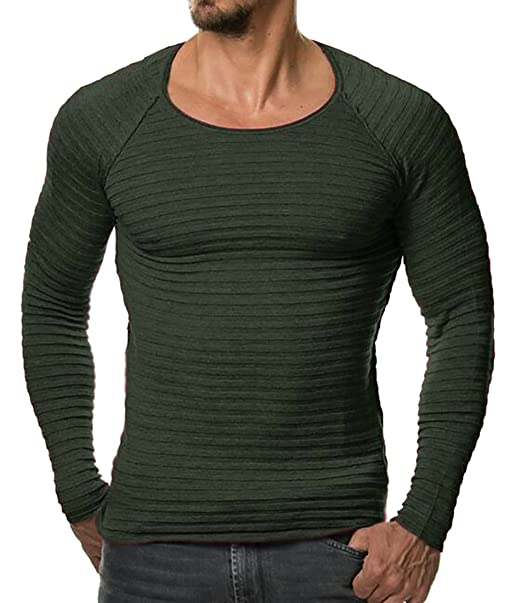 5b5192a48902 Cruiize Mens Comfort Knit Solid Scoop Neck Long Sleeve Pullover Sweater  Army Green XXS