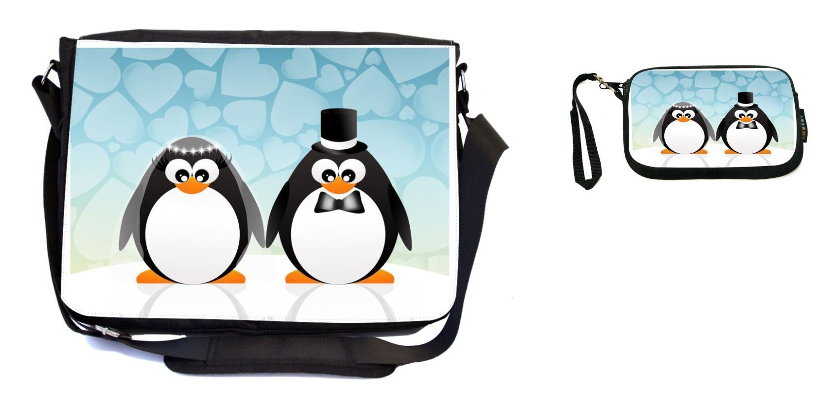 Rikki Knight Penguins in Love Wedding Illustration Design Messenger Bag - School Bag - Laptop Bag - with Padded Insert - Includes UKBK Premium Coin Purse