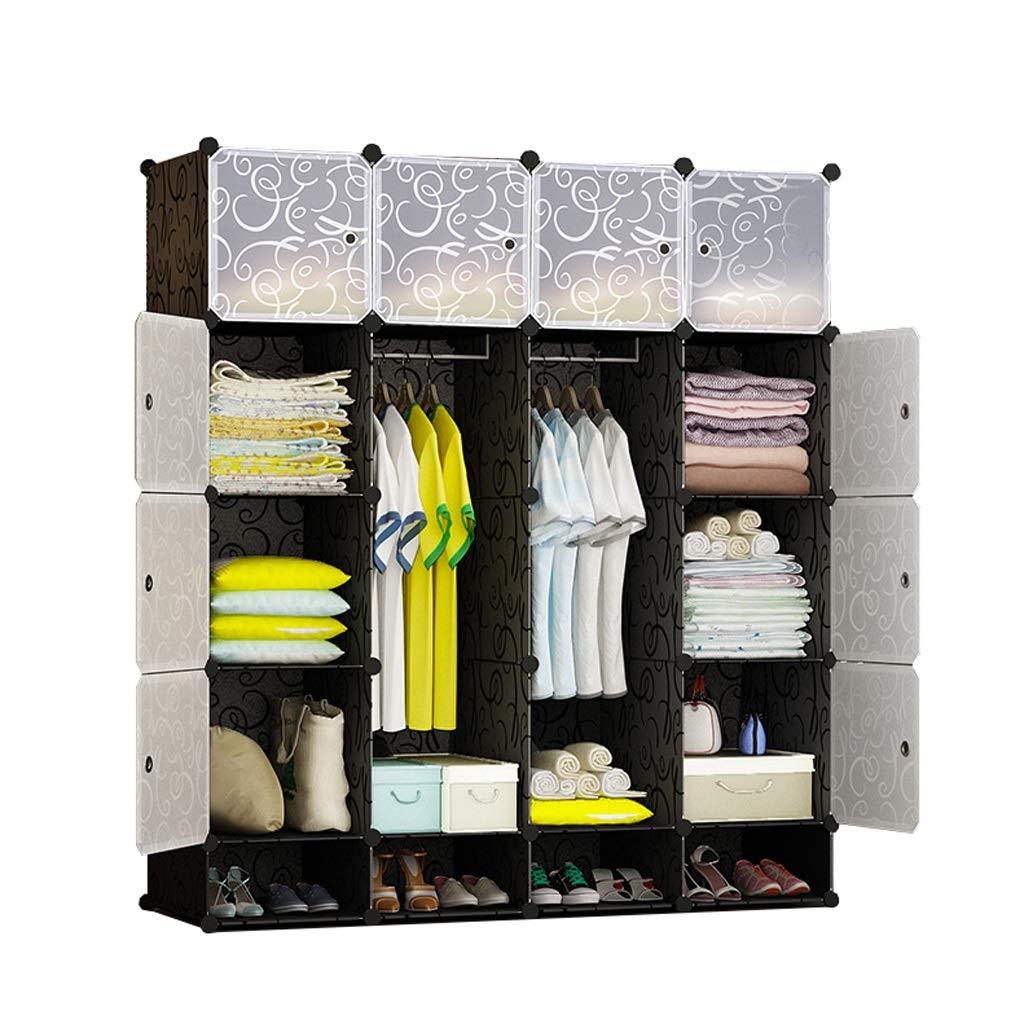 Jurass Black Assembled Wardrobe Closet,Easy to Disassemble DIY Hanging Wardrobe,Modern Portable Clothes Toy Storage Storage Box, Space Saving Deeper Cube by Jurass