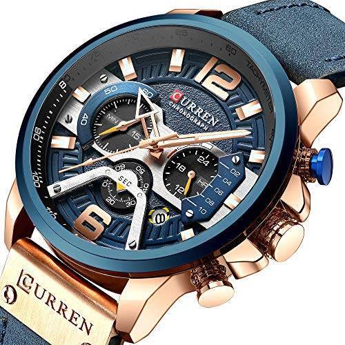 Mens Luxury Watches Business Chronograph Dress Waterproof Leather Strap Analog Quartz Wrist Watch (Blue ()