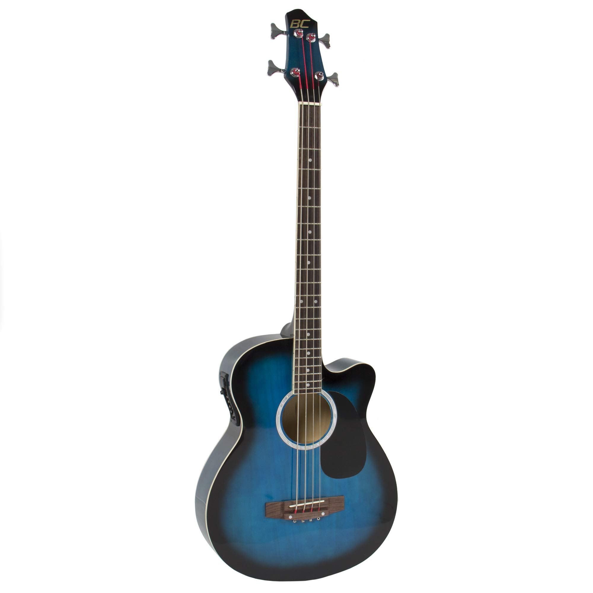 Electric Acoustic Bass Guitar Blue Solid Wood Construction With Equalizer