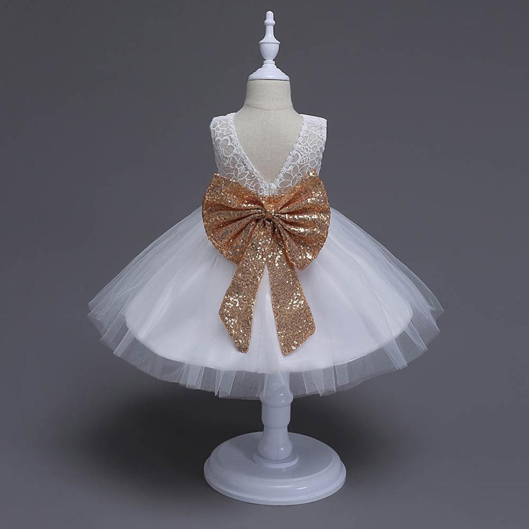 Lonshell Vestido de Flores Fiesta Niña Bowknot Vestido de Princesa Boda Infantil Elegante Bautizo Ceremonia Niña: Amazon.es: Ropa y accesorios
