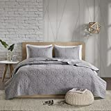 Urban Habitat Caden King/Cal King Quilt Bedding Set - Grey, Geometric – 3 Piece Teen Girl Boy Bedding Quilt Coverlets – 100% Cotton Bed Quilts Quilted Coverlet