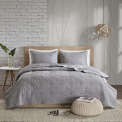 Urban Habitat Caden Full/Queen Quilt Bedding Set - Grey, Geometric – 3 Piece Teen Girl Boy Bedding Quilt Coverlets – 100% Cotton Bed Quilts Quilted Coverlet by Urban Habitat