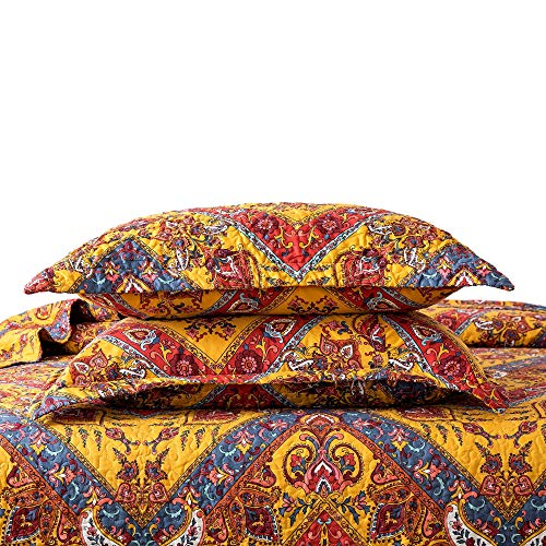 Tache Hanging Gardens Bohemian Chic Exotic Yellow Red Blue - Floral Colorful Paisley Chevron Matelassé Pillow Sham - 2 Pieces - 20x30