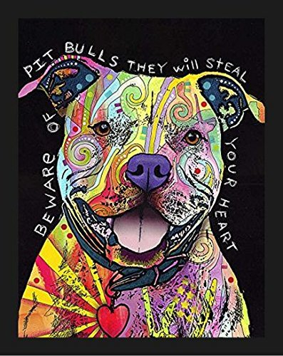 Framed Beware of Pit Bulls They Will Steal Your Heart by Dean Russo 14x11 Dog Art Print Poster Colorful -