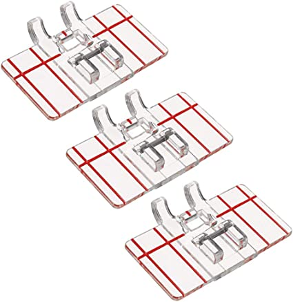 Top-Load Border Guide Foot Presser for Multifunction Domestic Sewing Machine Parallel Stitch Sewing Tool 3 PCS Clear Plastic Parallel Stitch Foot