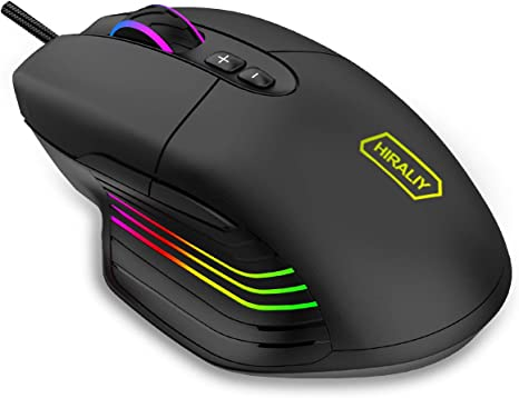 HIRALIY F300 Gaming Mouse Wired 10,000 DPI Adjustable 7 Programmable Buttons 16.