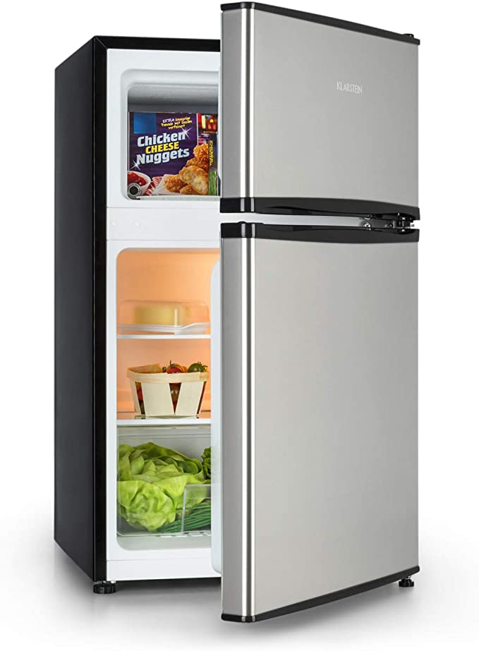 Klarstein Big Daddy Cool - Frigo, 65 litres, Congélateur de 25 litres, Eclairage intérieur, Habillage en inox, Compartiment à bouteilles, Bac à légumes, Classe A +, Argent