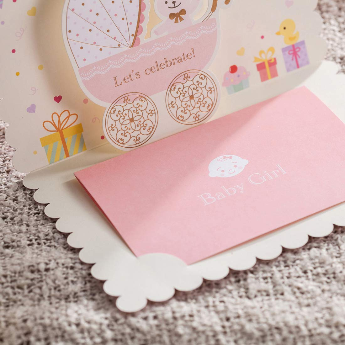100X WISHMADE 3D Pink Baby Shower Invitation Card with Bear and Cartoon Car Design, Blank Printable Birthday Dinner Party Invites Kits for Little Girl with Envelopes CW5301 by WISHMADE (Image #8)