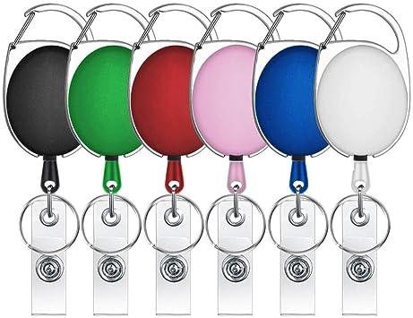 Selizo 12 Packs Retractable ID Badge Card Holder Carabiner Reel Belt Clip Key