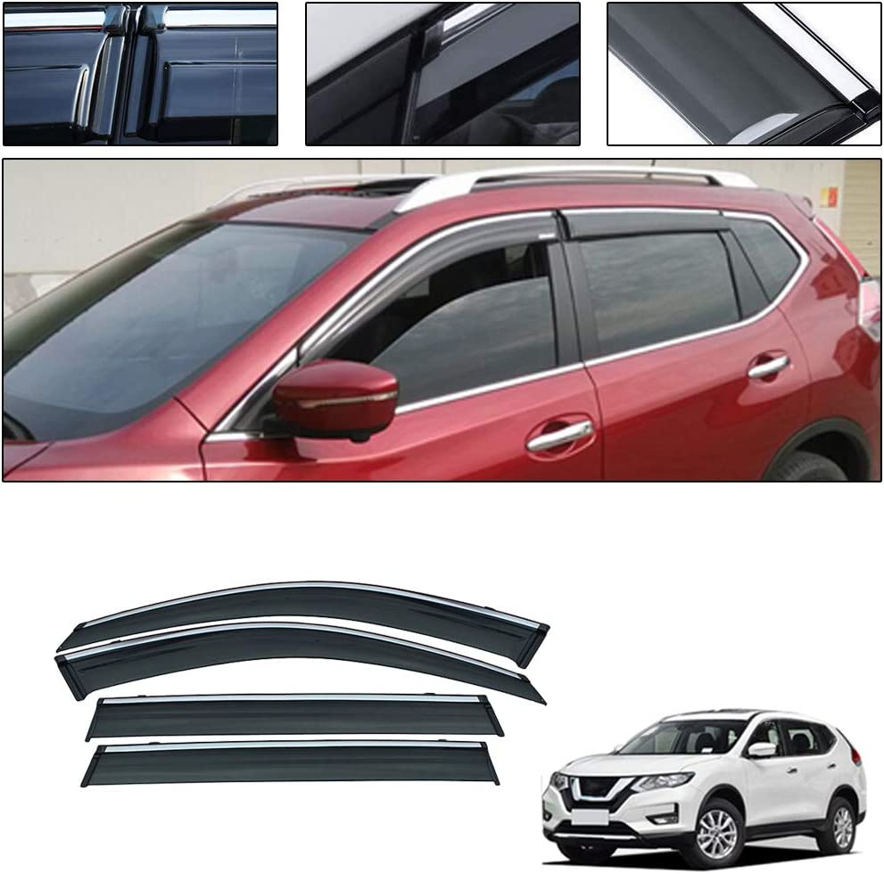 for Nissan Qashqai 2016-2019 4PCS Smoke Deflector Sun Rain Visor Guard Wind Deflectors Car Styling Front Rear Shade Vent Window