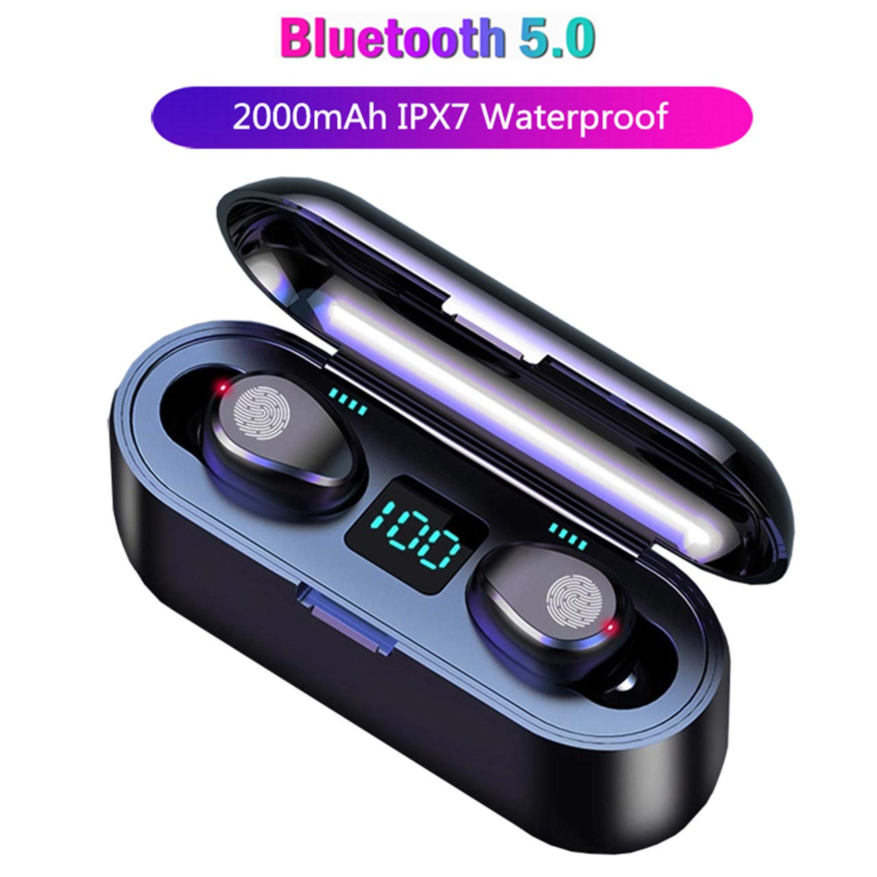 2019 Newly True Bluetooth 5.0 Earbuds with 2000mAh Charging Case LED Battery Display 60H Playtime in-Ear Touch Bluetooth Headset IPX7 Waterproof True Wireless Earbuds for Work Sports