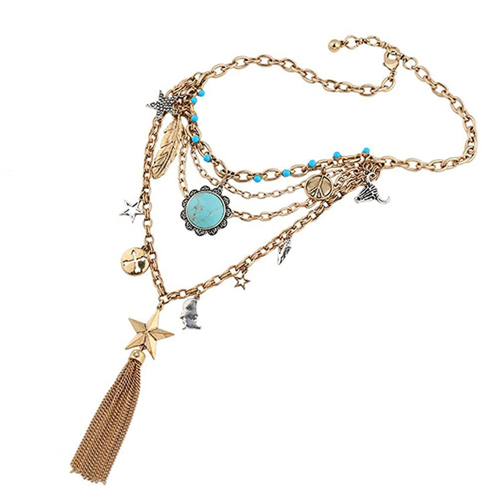Collares Dama Multicapa, Portaretrato Colgante Oro Borla Retro: Amazon.es: Joyería