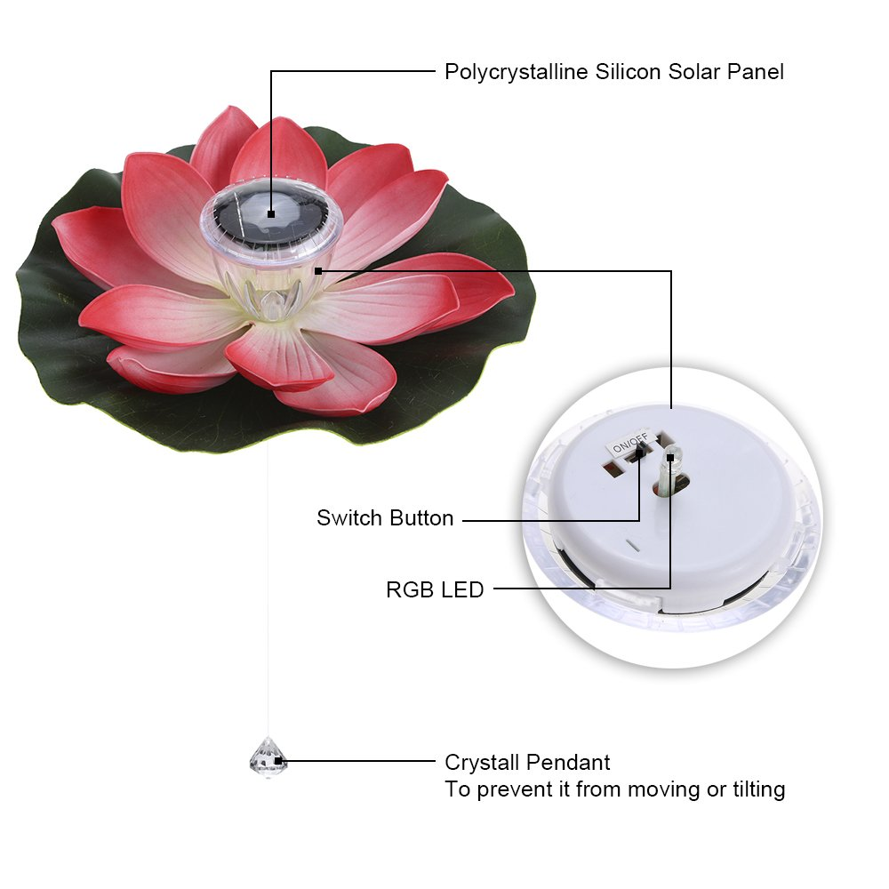 Amazon lixada 01w solar powered multi colored led lotus amazon lixada 01w solar powered multi colored led lotus flower lamp rgb water resistant outdoor floating pond night light auto onoff for garden pool izmirmasajfo