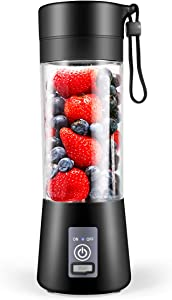 Dr.me Portable Blender, Personal Mixer Fruit Rechargeable with USB, Mini Blender for Smoothie, Fruit Juice, 380ml, Six 3D Blades for Great Mixing (Black)